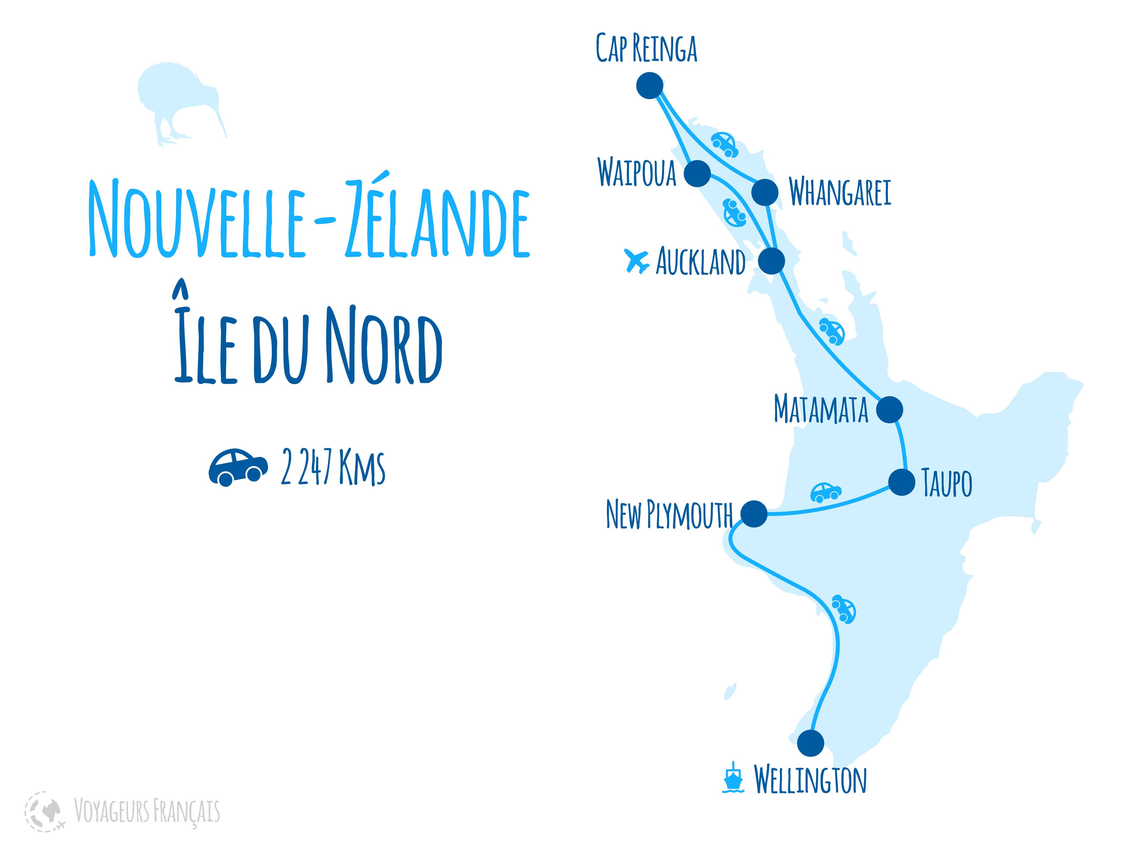 Nouvelle-Zélande - Carte de l'Île du Nord