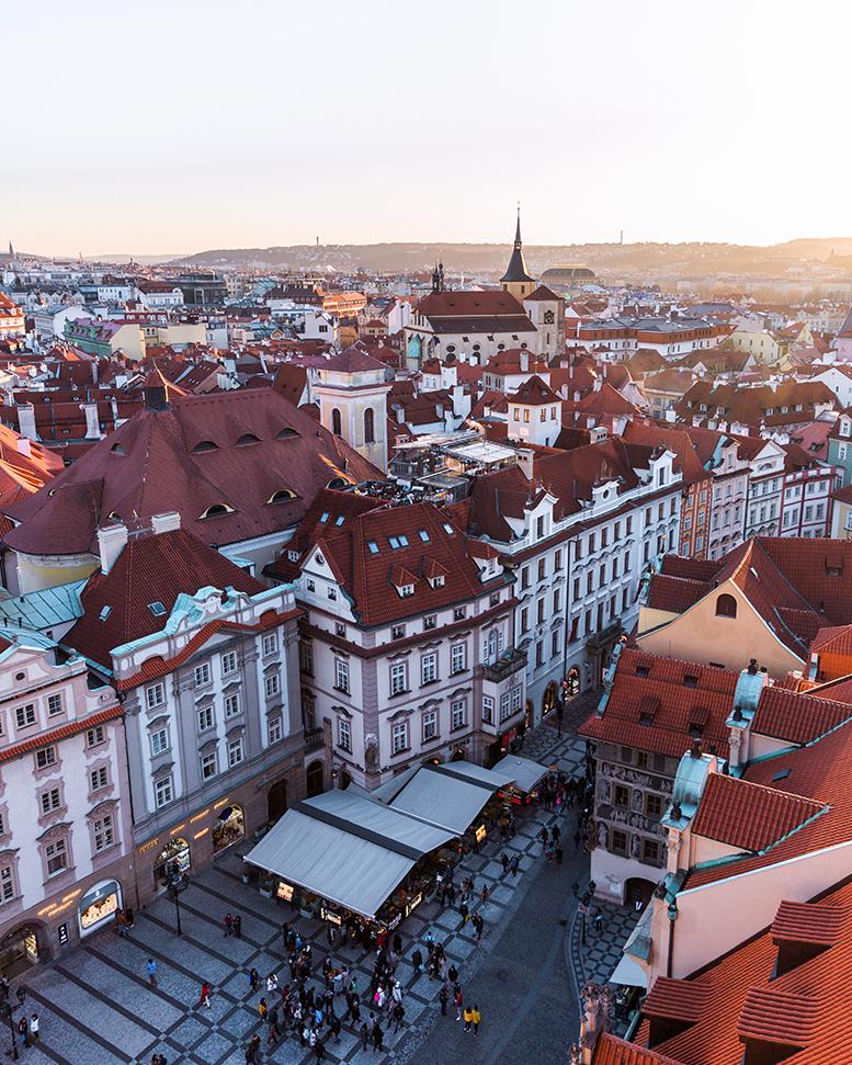 Vue depuis la Tour de l'horloge astronomique de Prague