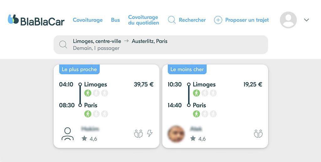 Nos astuces pour voyager moins cher - Capture d'écran site Blablacar