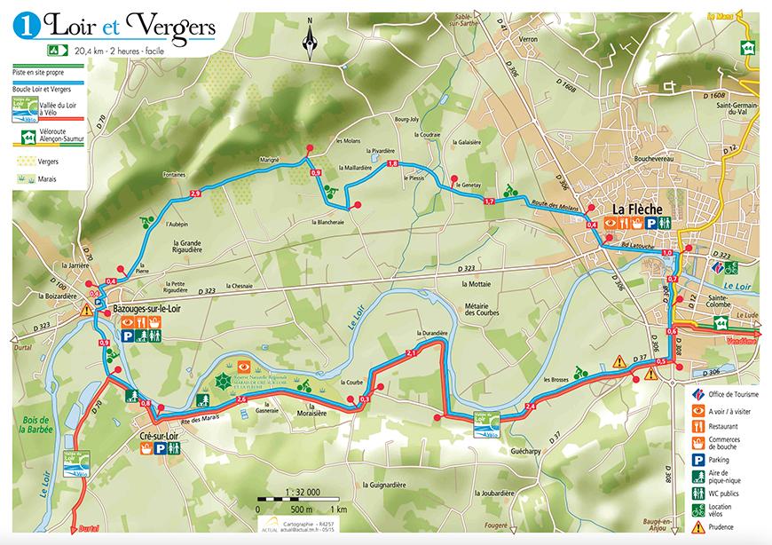 Balade à vélo Loir et Vergers - La Flèche - Vallée du Loir