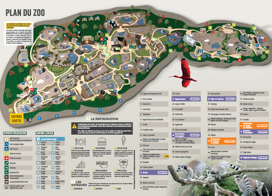 Plan du Zoo de la Flèche - Vallée du Loir
