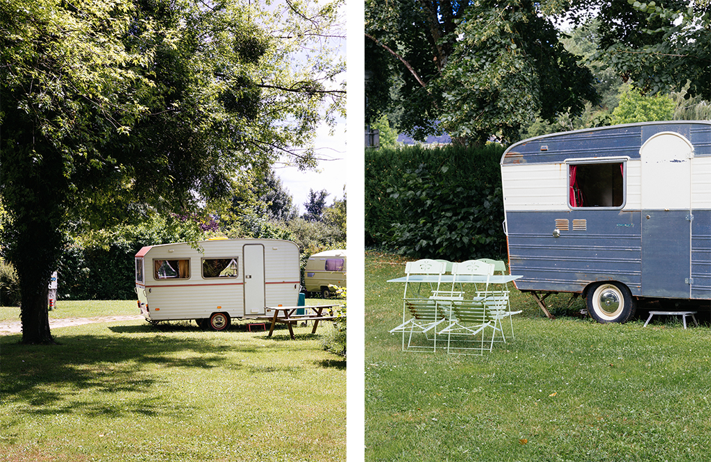 """Caravanes dans le camping """"L'oeil dans le Rétro"""" à Avoise - Vallée de la Sarthe"""